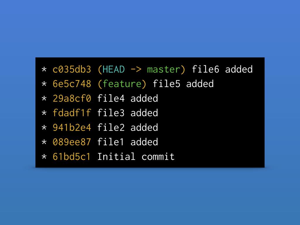 * c035db3 (HEAD -> master) file6 added * 6e5c74...