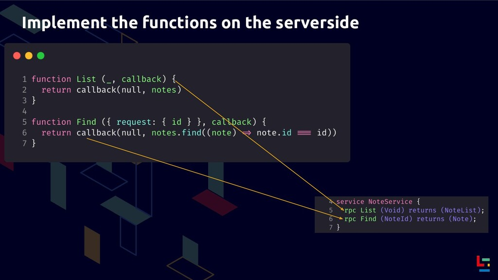 Implement the functions on the serverside