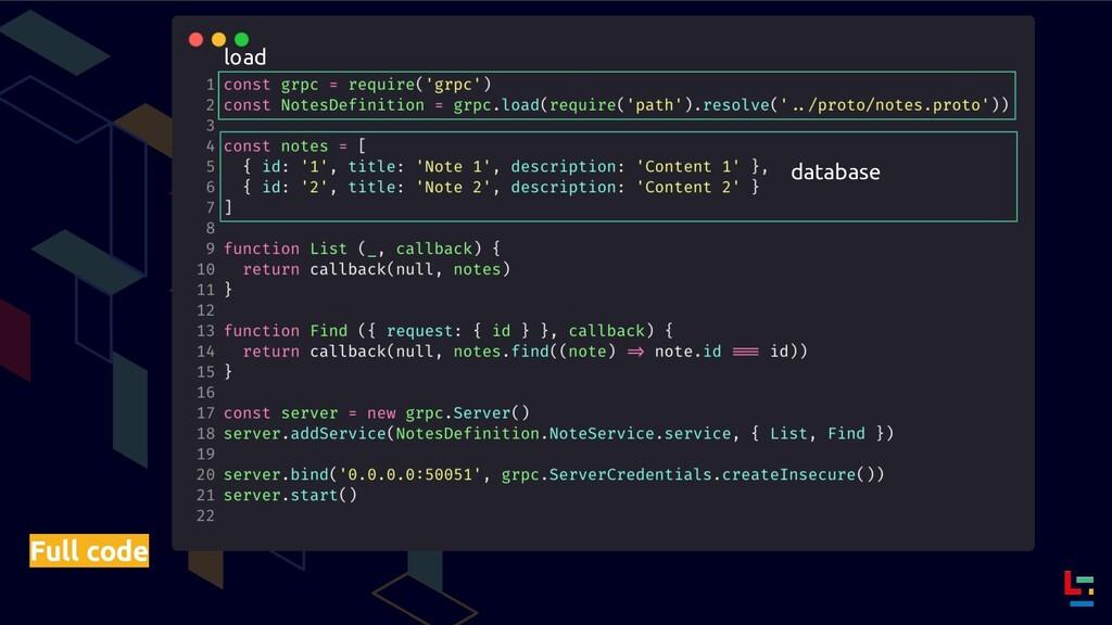 Full code load database
