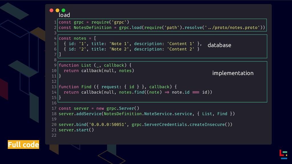 Full code load database implementation