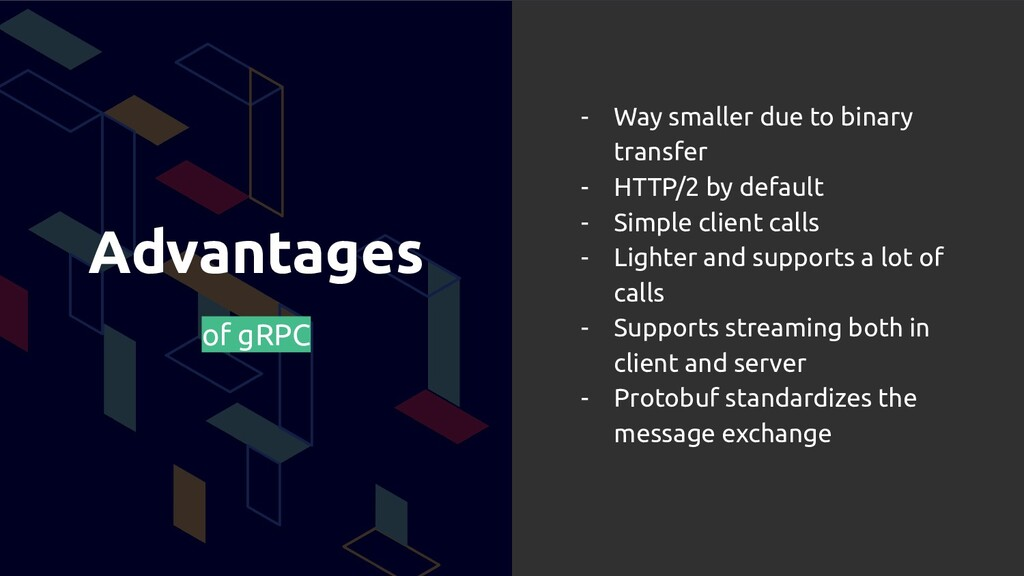 Advantages of gRPC - Way smaller due to binary ...