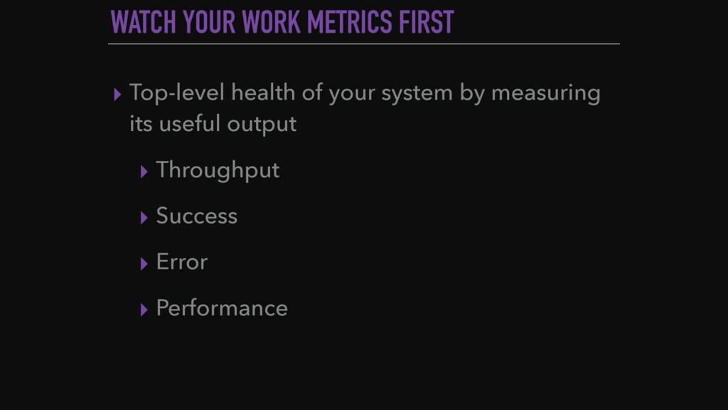WATCH YOUR WORK METRICS FIRST ▸ Top-level healt...
