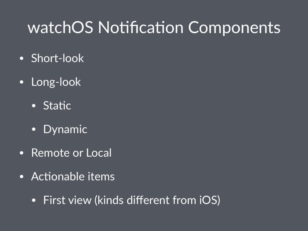 watchOS No+fica+on Components • Short-look • Lon...