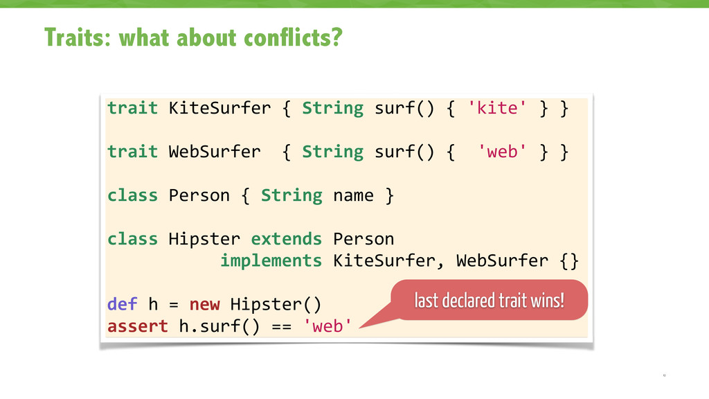 Traits: what about conflicts? 12 trait KiteS...