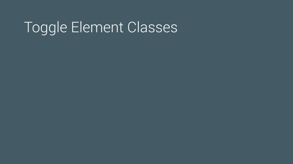 Toggle Element Classes
