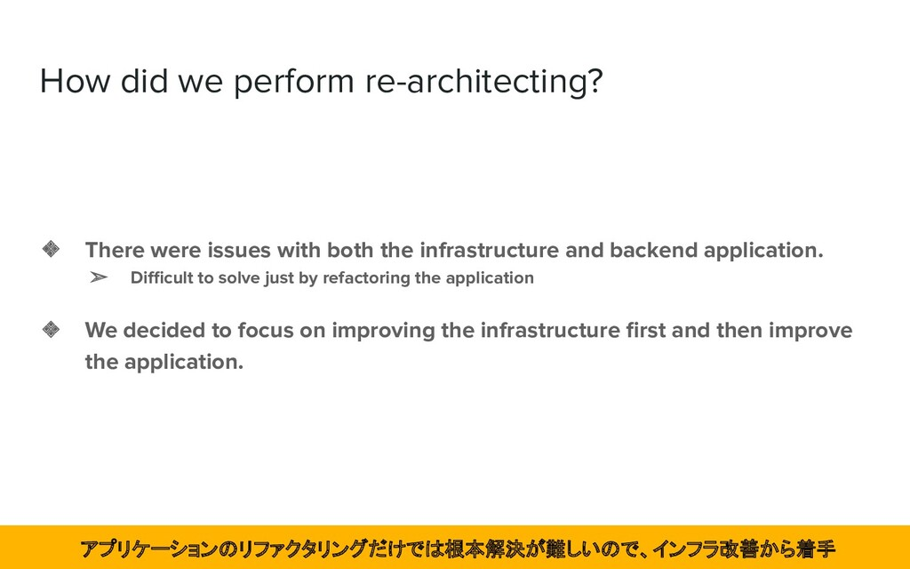 How did we perform re-architecting? ❖ There wer...