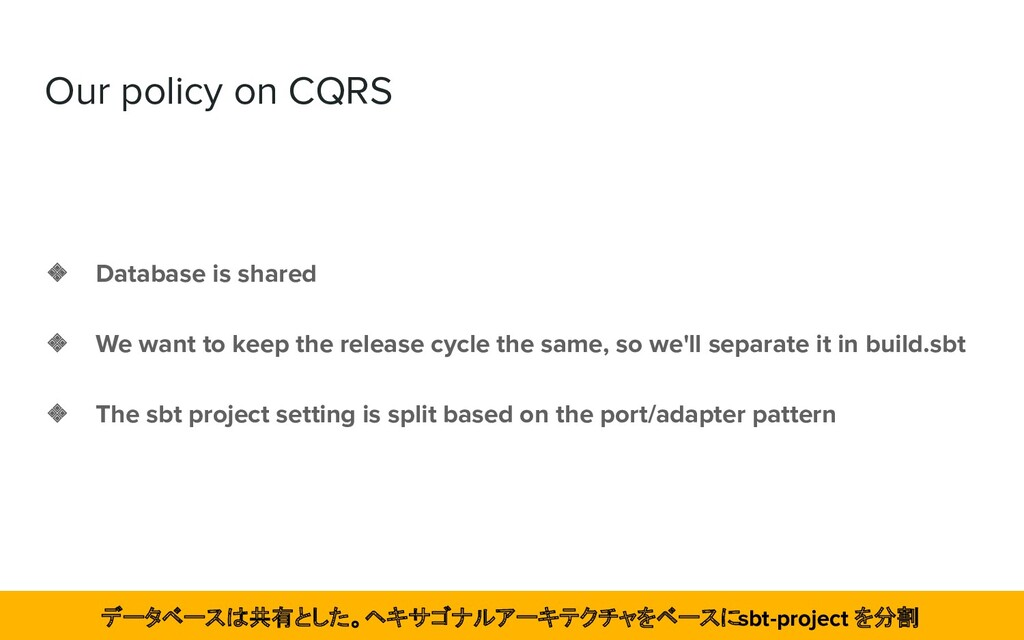 Our policy on CQRS ❖ Database is shared ❖ We wa...