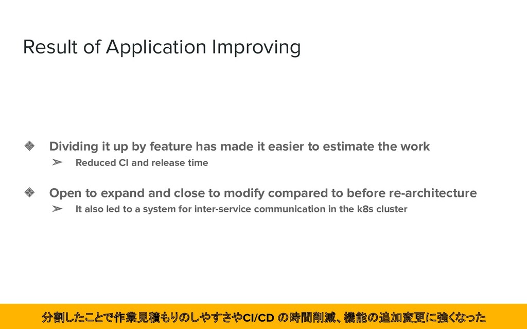 Result of Application Improving ❖ Dividing it u...