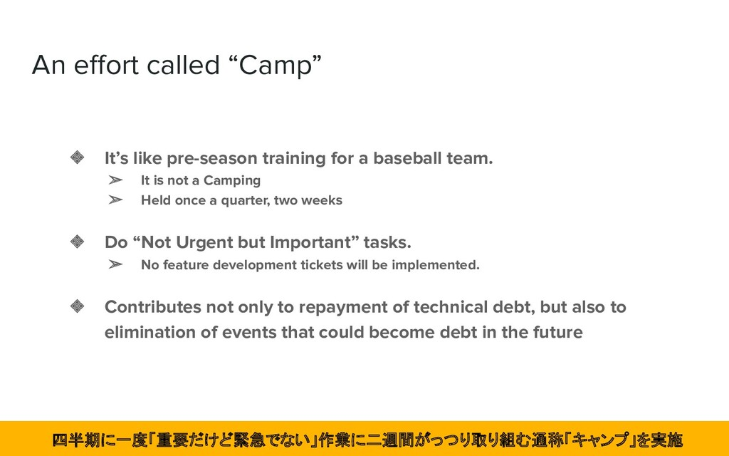 "An effort called ""Camp"" ❖ It's like pre-season t..."
