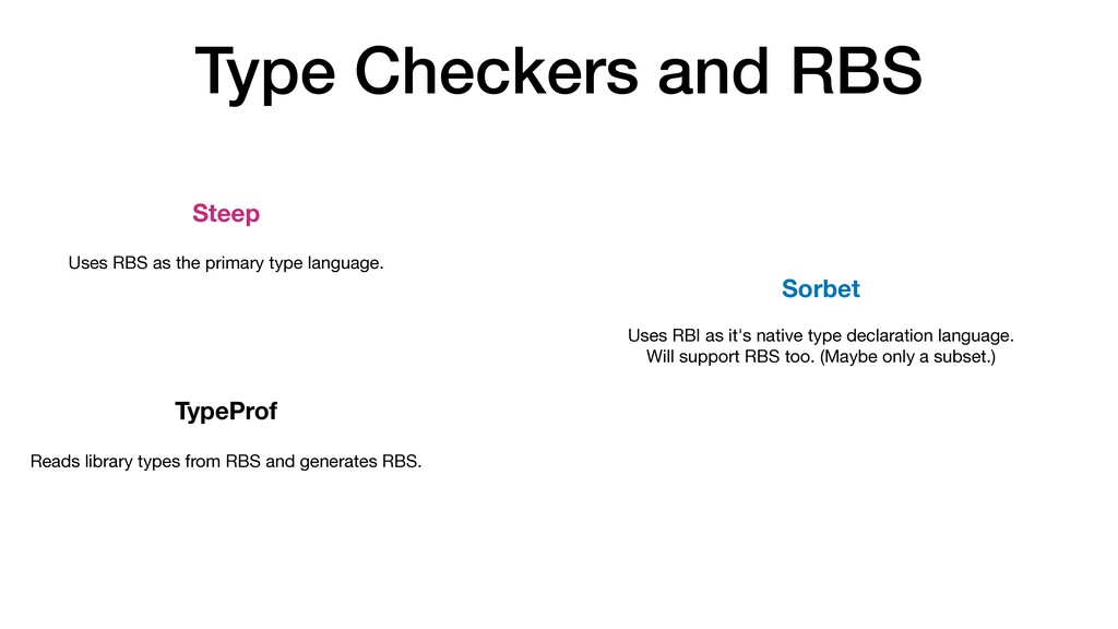 Type Checkers and RBS Steep TypeProf Sorbet Use...