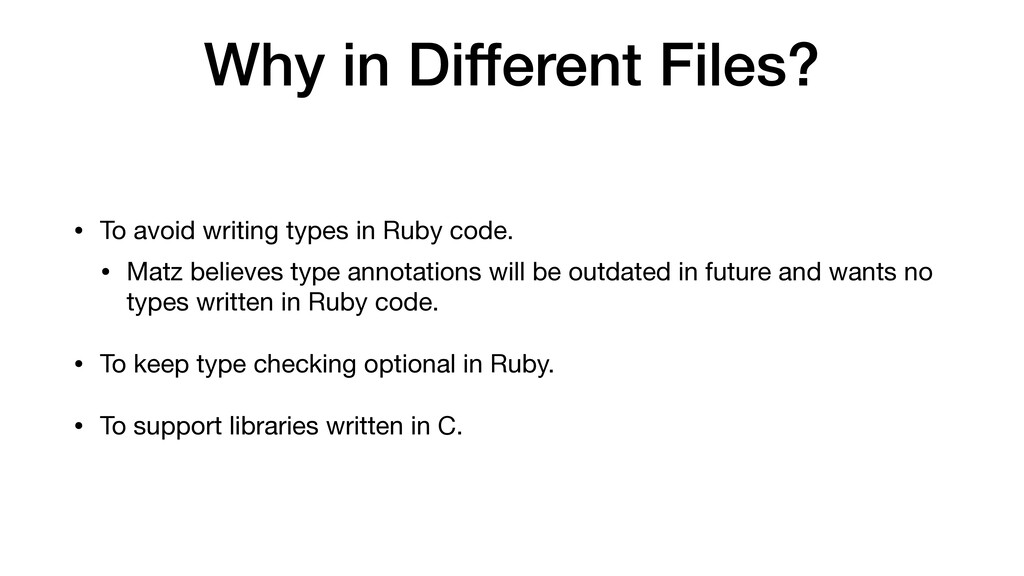 Why in Different Files? • To avoid writing type...