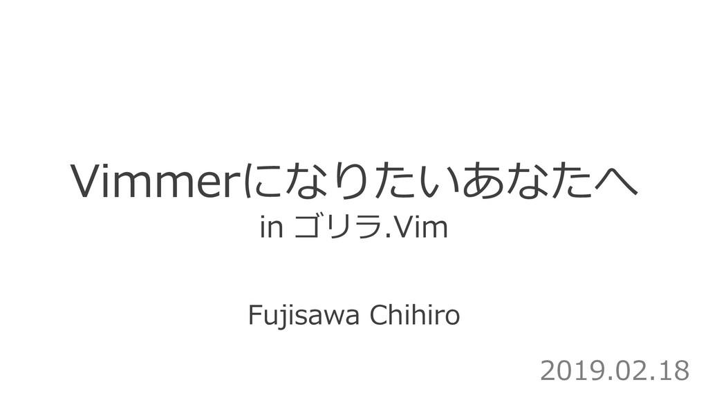 Fujisawa Chihiro Vimmerになりたいあなたへ in ゴリラ.Vim 201...