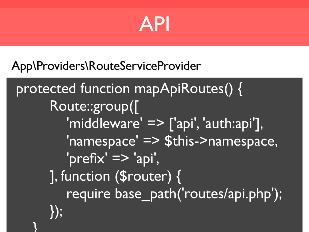 API App\Providers\RouteServiceProvider protecte...