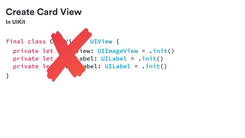 In UIKit Create Card View final class CardView ...