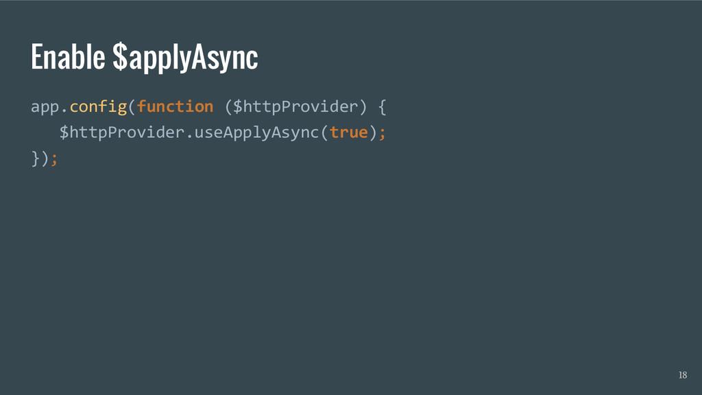 Enable $applyAsync app.config(function ($httpPr...