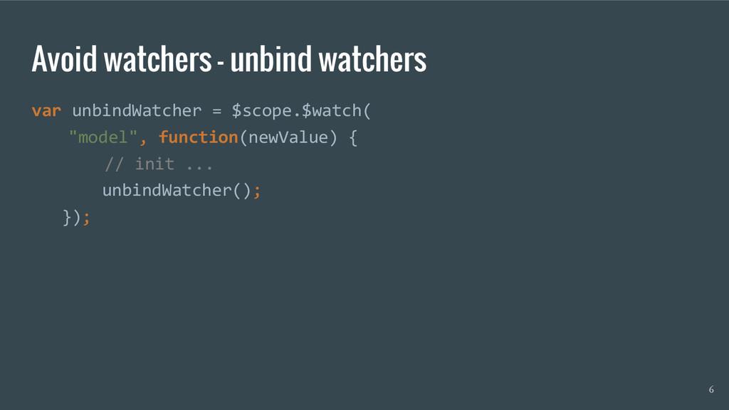 Avoid watchers - unbind watchers var unbindWatc...