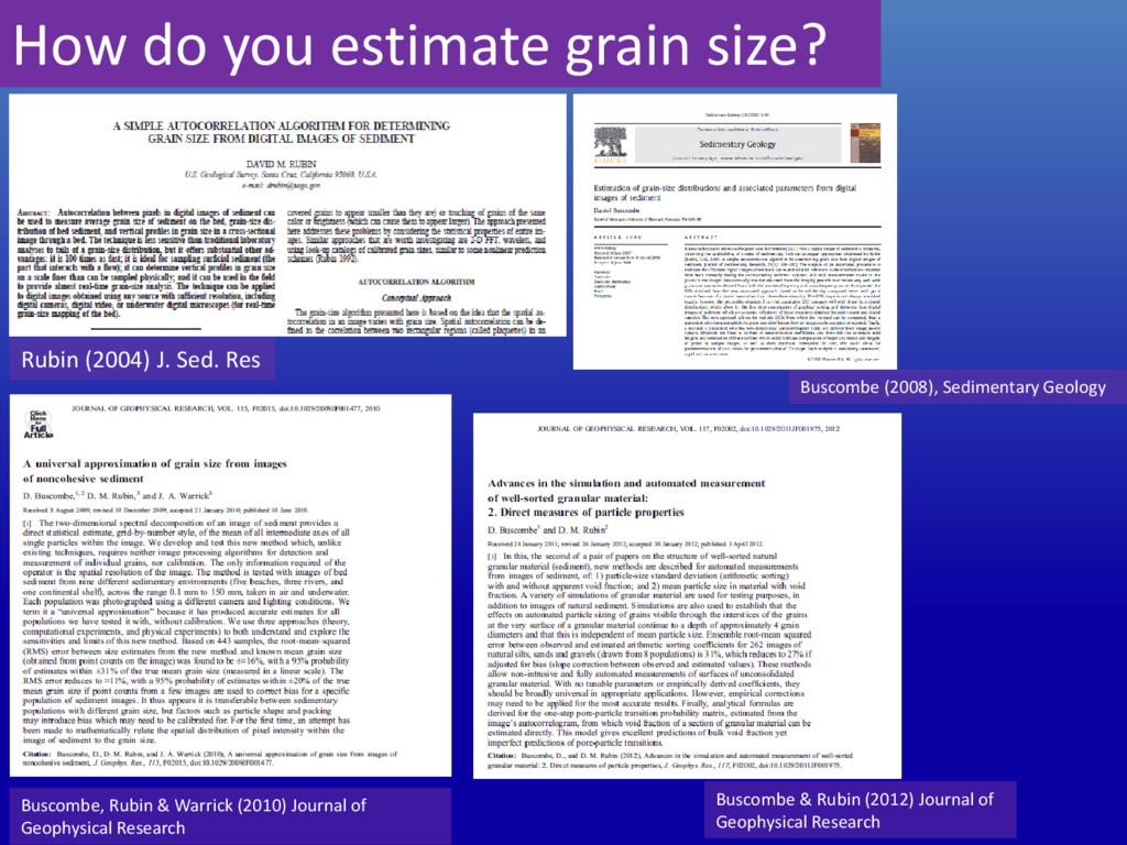 How do you estimate grain size? Rubin (2004) J....