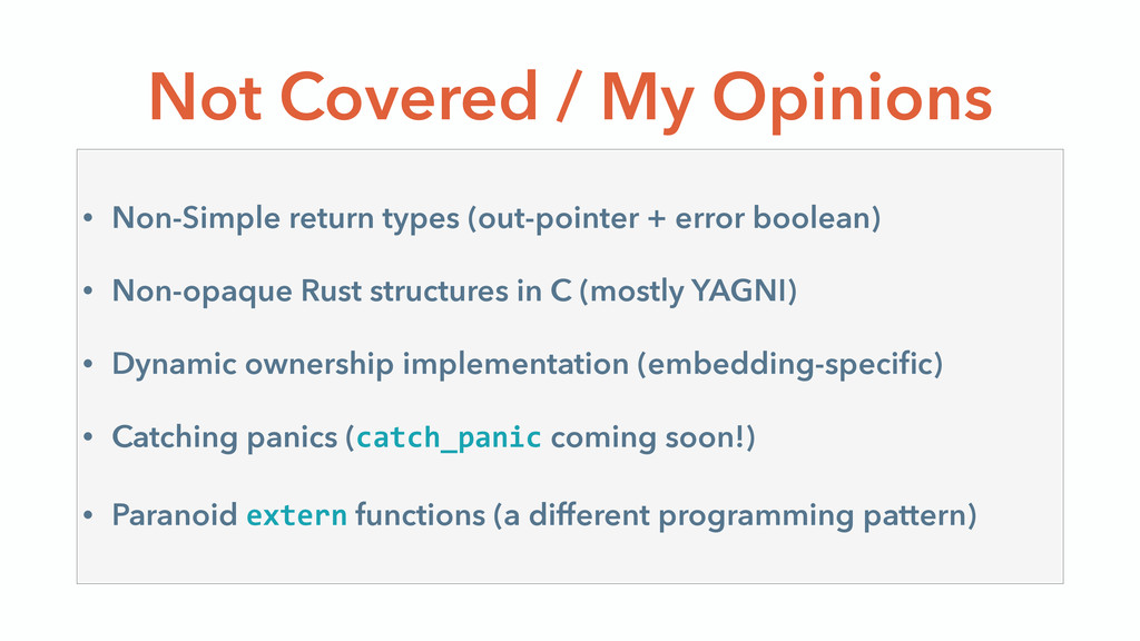 Not Covered / My Opinions • Non-Simple return t...