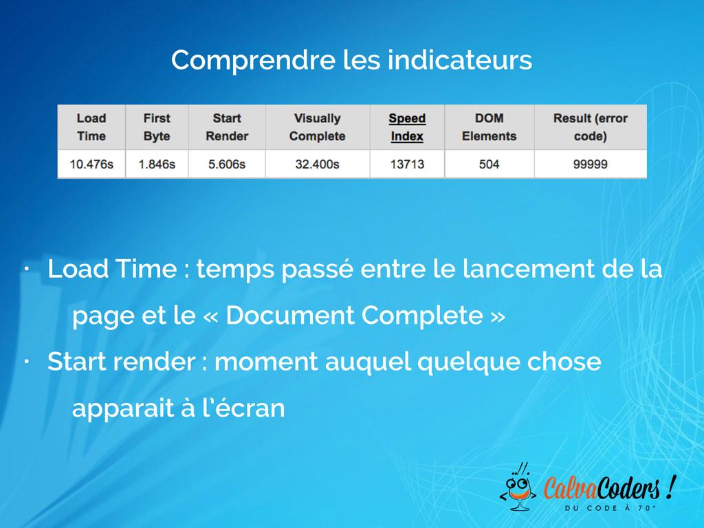 Comprendre les indicateurs • Load Time : temps ...