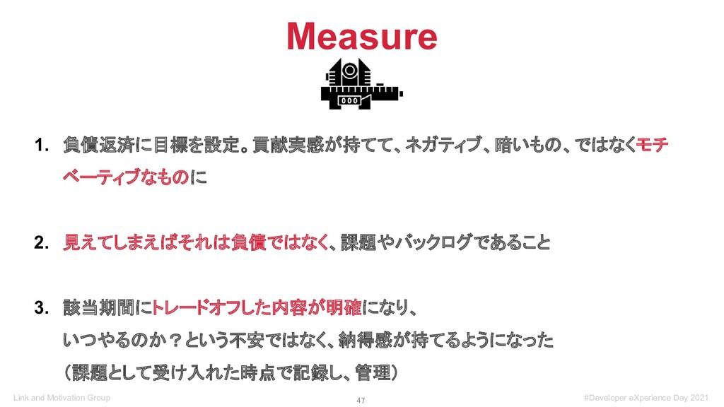 47 Measure 1. 負債返済に目標を設定。貢献実感が持てて、ネガティブ、暗いもの、で...