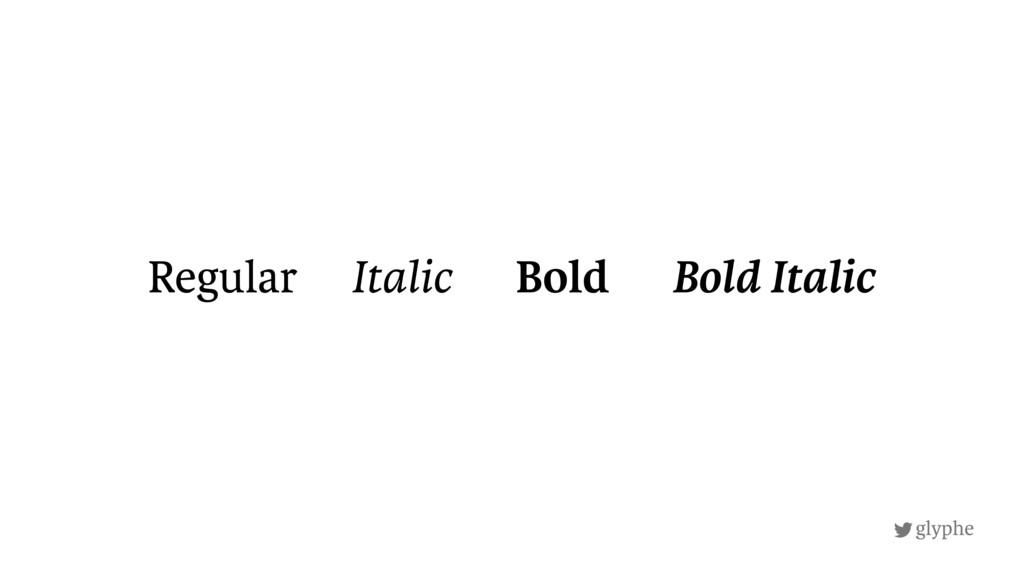 glyphe Regular Italic Bold Bold Italic