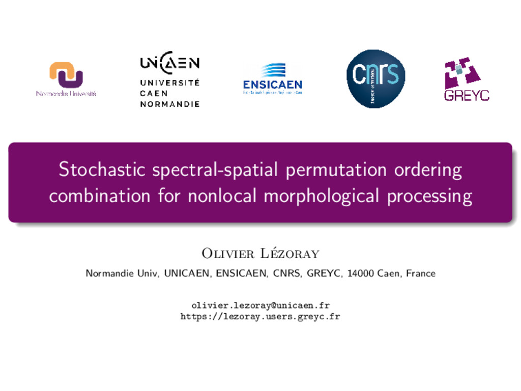 Stochastic spectral-spatial permutation orderin...