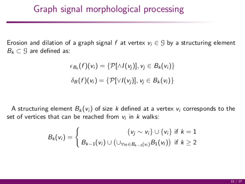 Graph signal morphological processing Erosion a...