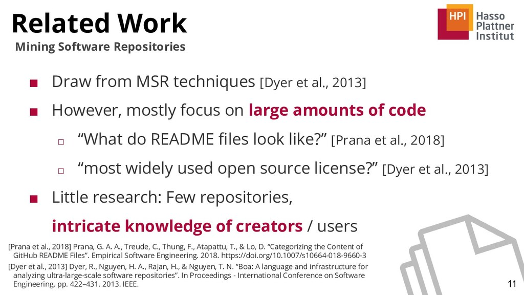 Related Work 11 Mining Software Repositories ■ ...
