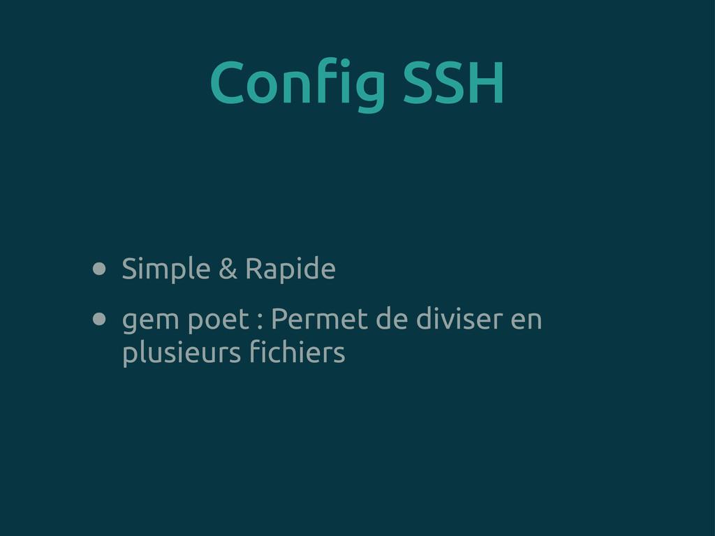 Con!g SSH • Simple & Rapide • gem poet : Permet...