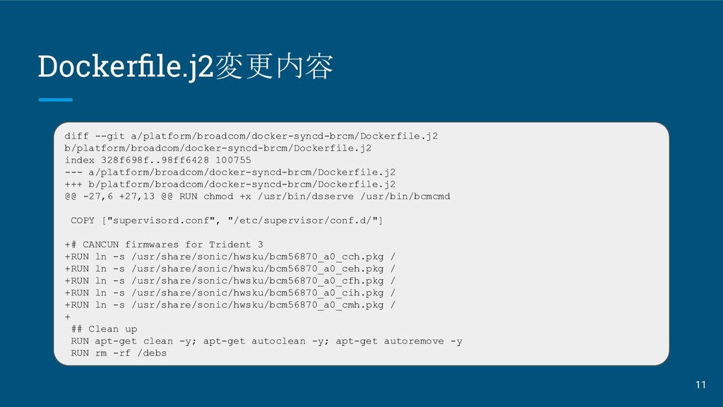 Dockerfile.j2変更内容 diff --git a/platform/broadcom...