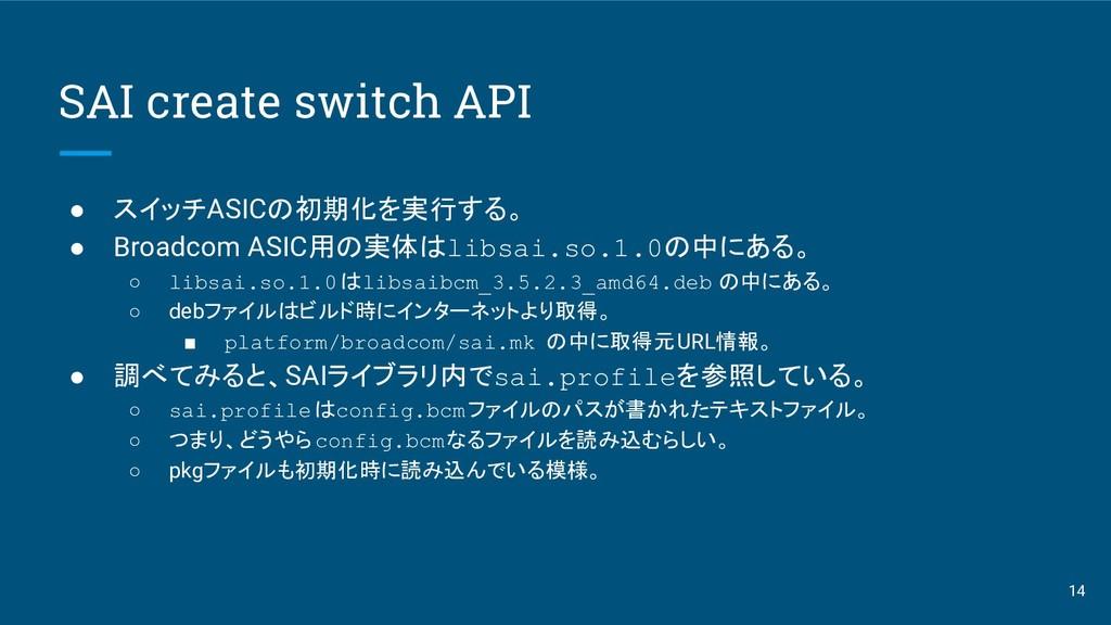 SAI create switch API ● スイッチASICの初期化を実行する。 ● Br...
