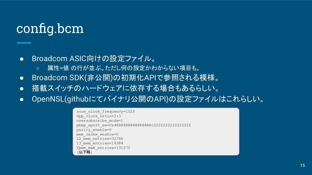 config.bcm ● Broadcom ASIC向けの設定ファイル。 ○ 属性=値 の行が並...