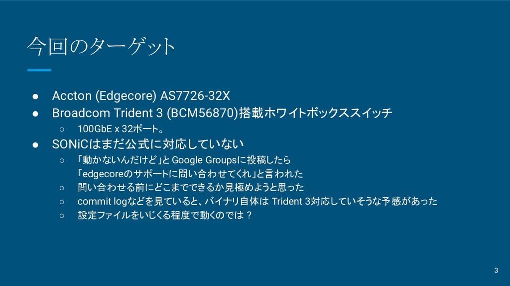 今回のターゲット ● Accton (Edgecore) AS7726-32X ● Broad...