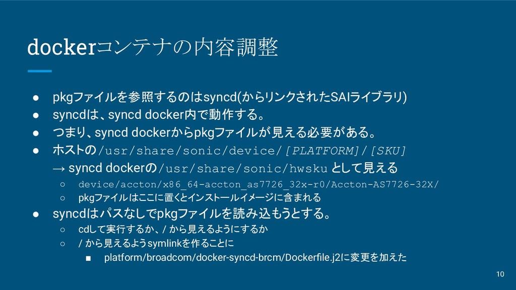 dockerコンテナの内容調整 ● pkgファイルを参照するのはsyncd(からリンクされたS...