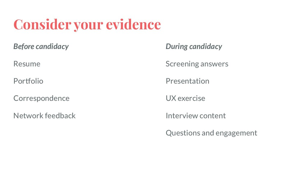 Consider your evidence Before candidacy Resume ...