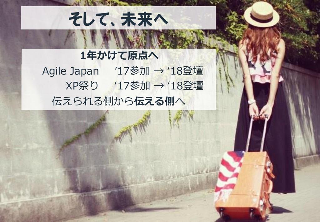そして、未来へ 1年かけて原点へ Agile Japan XP祭り '17参加 → '18登壇...