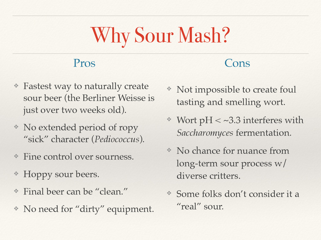 Why Sour Mash? ❖ Fastest way to naturally creat...