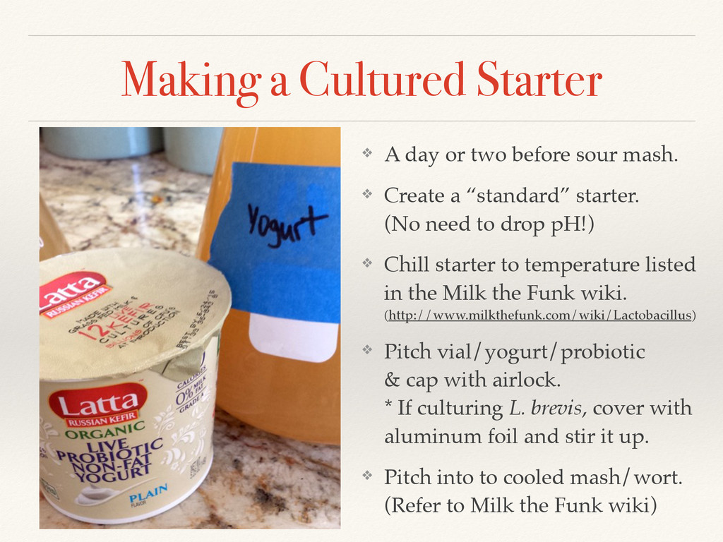 Making a Cultured Starter ❖ A day or two before...