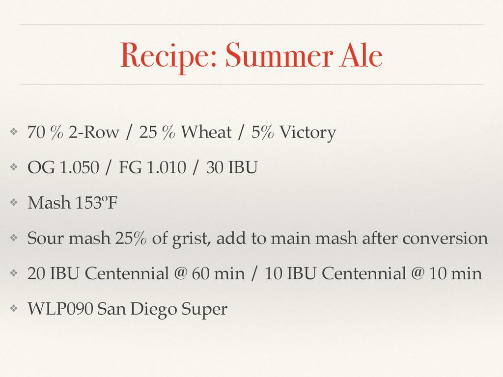 Recipe: Summer Ale ❖ 70 % 2-Row / 25 % Wheat / ...