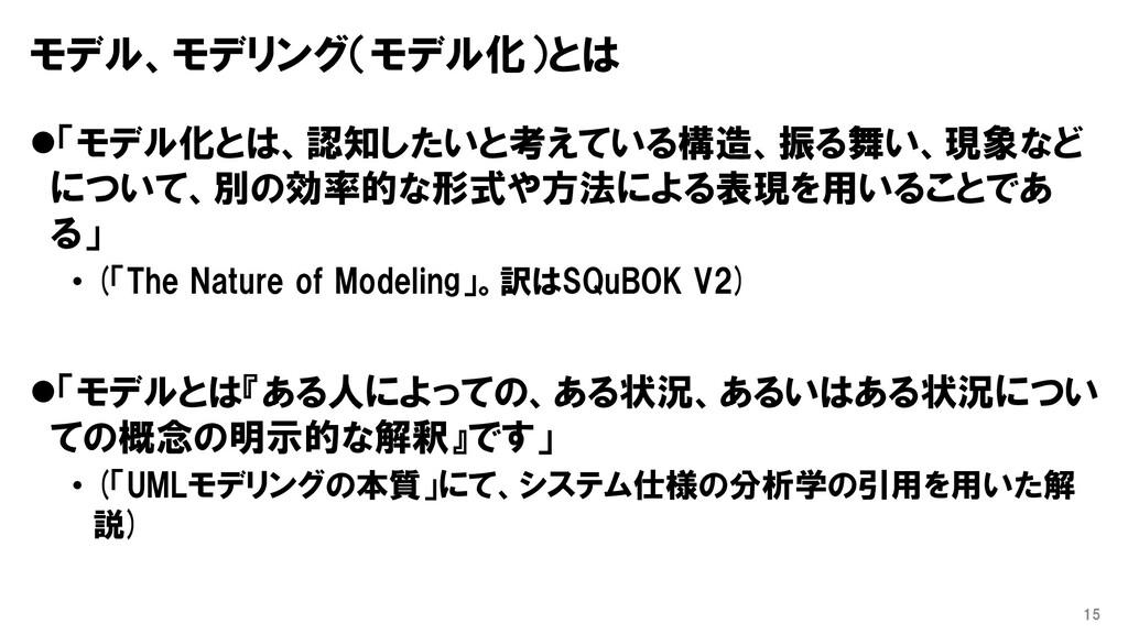 モデル、モデリング(モデル化)とは ⚫「モデル化とは、認知したいと考えている構造、振る舞い、現...