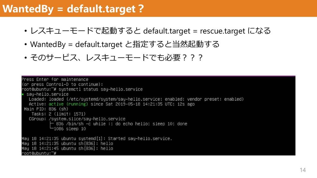 WantedBy = default.target? 14 • レスキューモードで起動すると ...