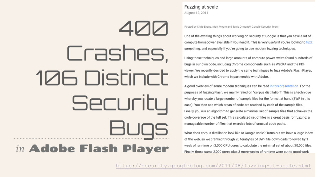 400 Crashes, 106 Distinct Security Bugs in Adob...