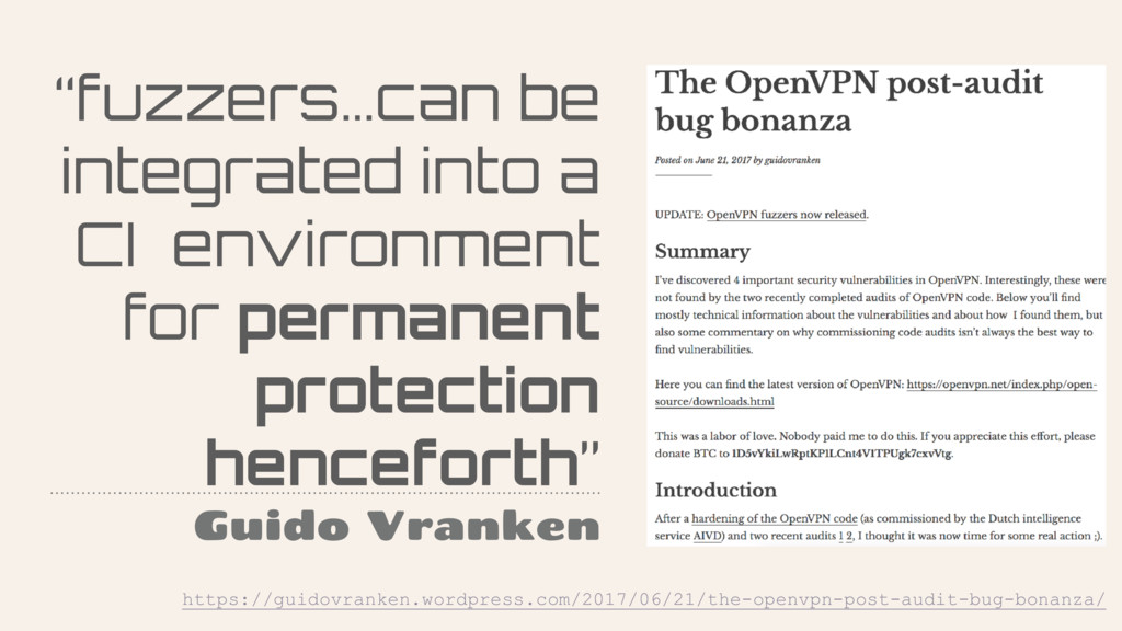 """""""fuzzers…can be integrated into a CI environmen..."""