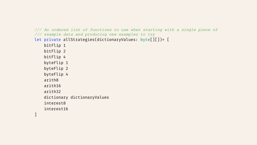 /// An ordered list of functions to use when st...
