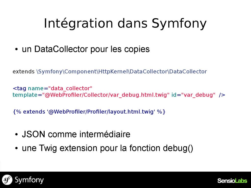 Intégration dans Symfony ● un DataCollector pou...