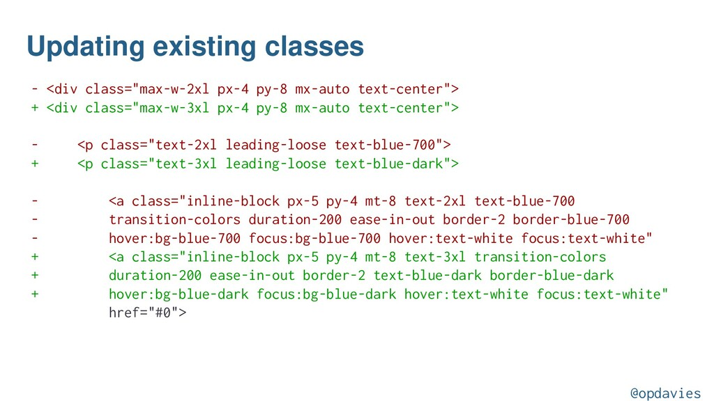 """Updating existing classes - <div class=""""max-w-2..."""