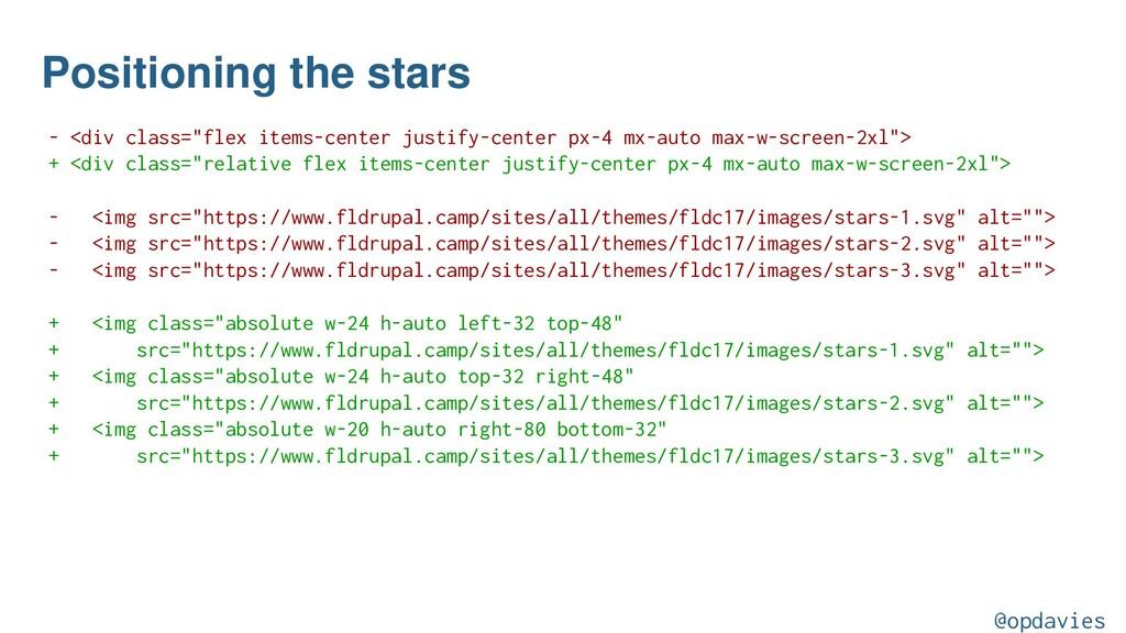 "Positioning the stars - <div class=""flex items-..."