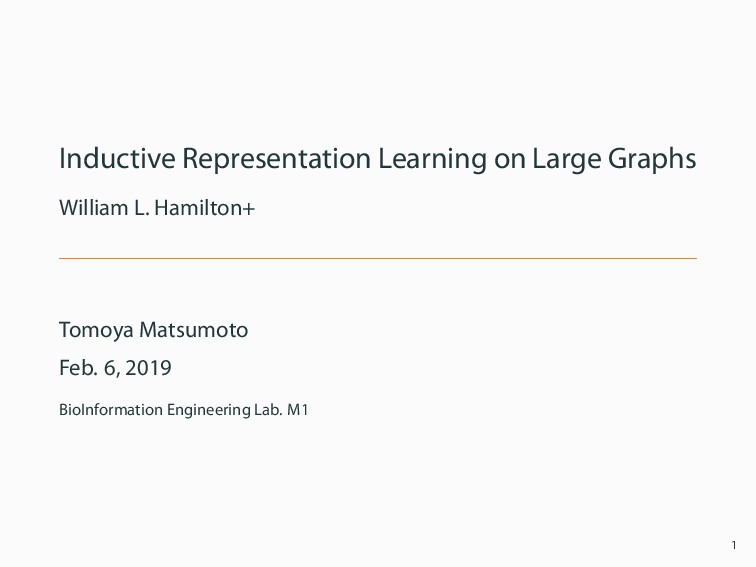 Inductive Representation Learning on Large Grap...