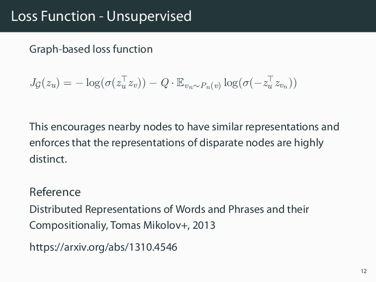 Loss Function - Unsupervised Graph-based loss f...
