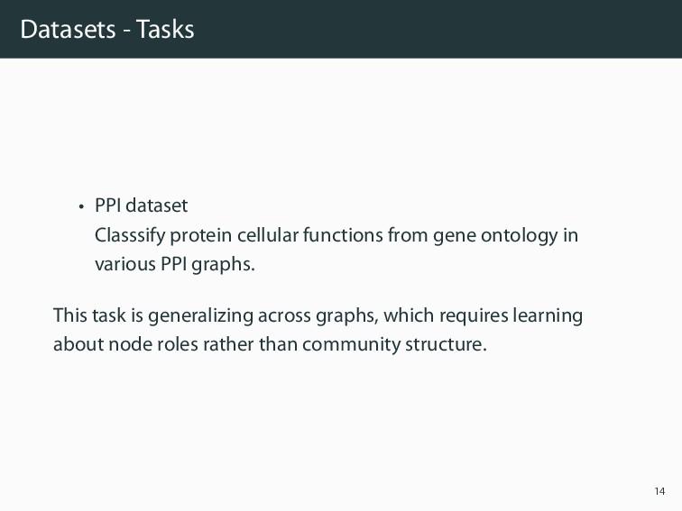 Datasets - Tasks • PPI dataset Classsify protei...